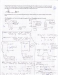 Regular physics exam problem. This student did not have the depth of mastery to analyze the entire situation quantitatively but was still able to represent the problem with several graphs and diagrams that describe how the motion changed.