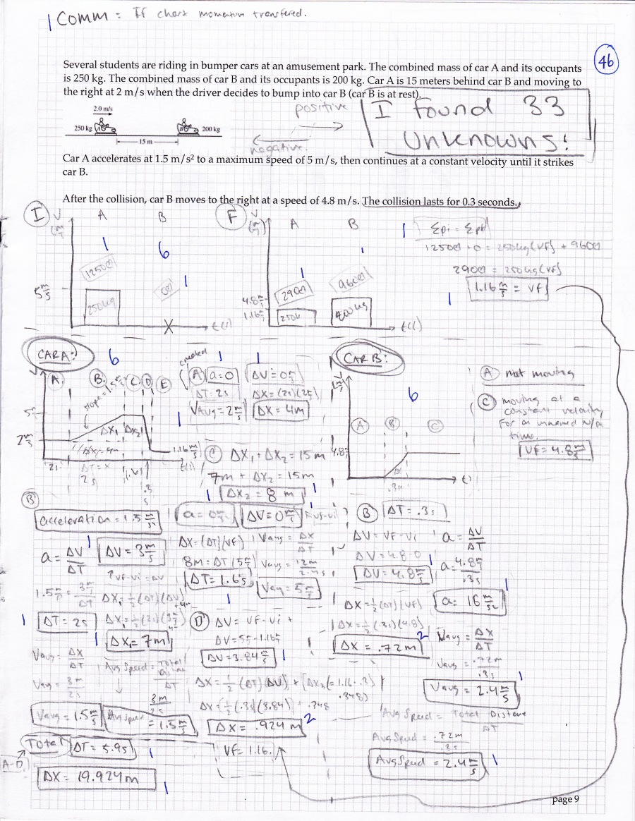 Regular physics exam problem. This student very thoroughly analyzed the situation using multiple models.