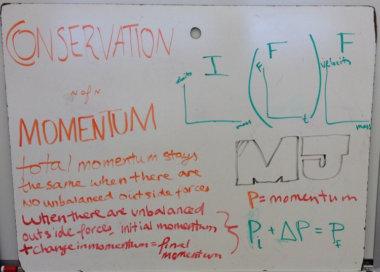 conservation of momentum board